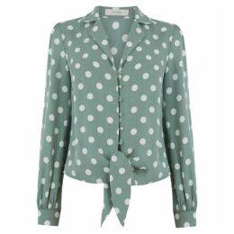 Oasis Spot Tie Front Shirt