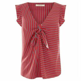 Oasis Patched Stripe Tie Front Top