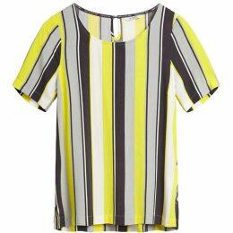 Sandwich Yellow And Grey Stripe Top
