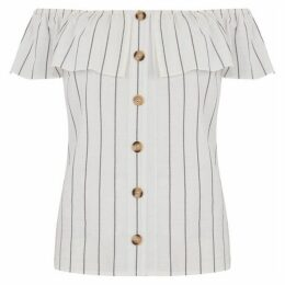 Oasis Linen Look Stripe Bardot Top