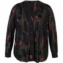 Chesca Dotty Burnout Jersey Notch Neck Shirt