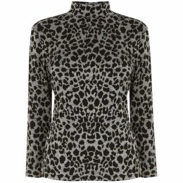 Warehouse Leopard Jacquard Polo Neck Top