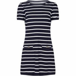 Yumi Curves Nautical Stripe Plus Size Jersey Pocket Tunic