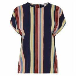 Warehouse Multi Stripe Button Back Top