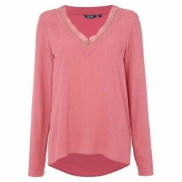 Salsa Long sleeve v neck tunic in pink