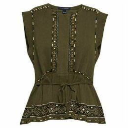 French Connection Adanna Crinkle Embroidered Peplum Top