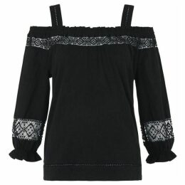 Whistles Lace Insert Off Shoulder Top