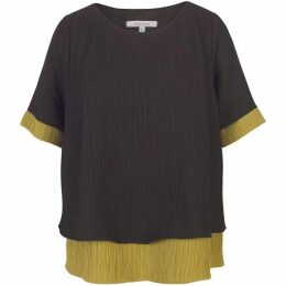 Chesca Textured Top with Contrast Trim