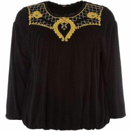Free People Begonia three quarter Sleeve Tee with Embroidery