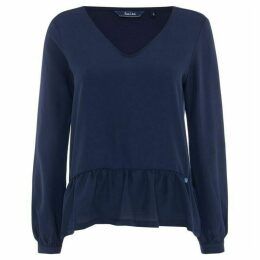 Salsa Long Sleeve V-Neck Top With Ruffle Detail