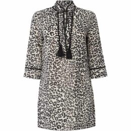 Oui Cheetah print tassel tunic