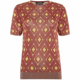 Maison Scotch High neck knit ikat pattern top