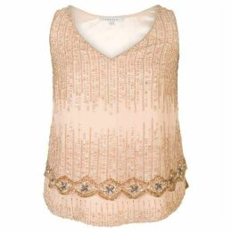 Chesca V-Neck Beaded Chiffon Top