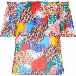 Yumi Heart Printed Bardot Top