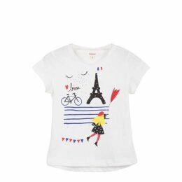 Catimini Off-White Tee-Shirt With Rain Pattern