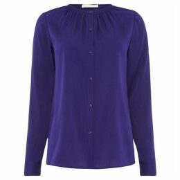 Boss Button blouse with ruched neckline