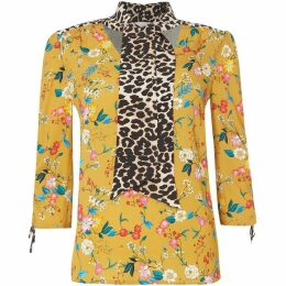 Oui Floral and leopard tie blouse