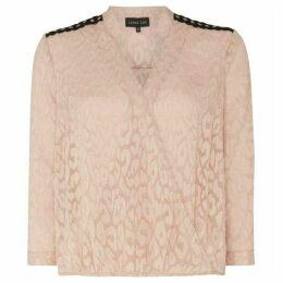 Label Lab Eyelet detail jacquard wrap blouse
