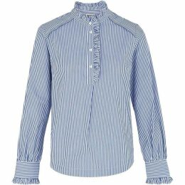 Whistles Ruffle Detail Stripe Shirt