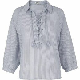 Whistles Lace Up Front Stripe Shirt