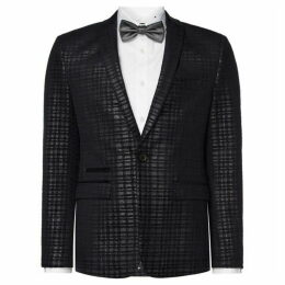 Label Lab Astley Skinny Fit Check Velvet Blazer