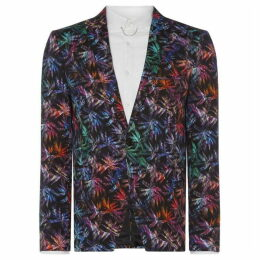 Label Lab Leonardo Palm Printed Skinny Fit Suit Jacket