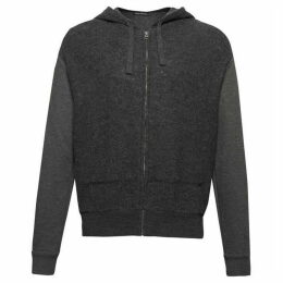 French Connection Boiled Knit Hybrid Hoodie Sweatshirt