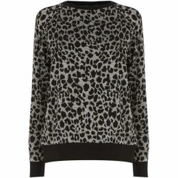 Warehouse Leopard Jacquard Sweatshirt
