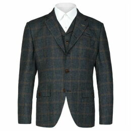 Gibson The Anthenaeum Navy & Brown Checked Blazer