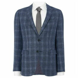 Boss Nasley Slim Elbow Patch Windowpane Check Blazer