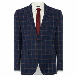 Hugo Jeffery Navy and Red Windowpane Check Blazer