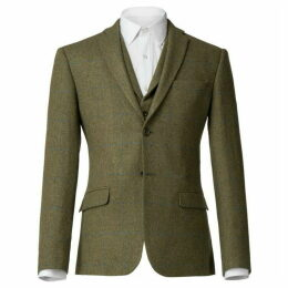 Alexandre Irving Olive With Blue Check Jacket