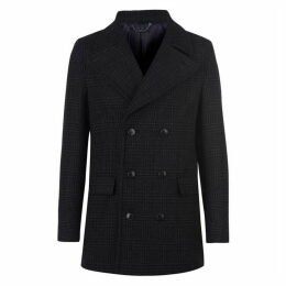 Kenneth Cole Pavillon Checked Double Breasted Coat