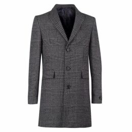 Label Lab Garrison Monochrome Checked Peak Lapel Coat