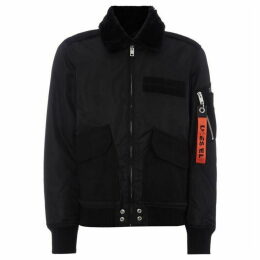 Diesel Nylon Faux Fur Collared Bomber Jacket