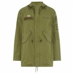 Replay Printed Cotton Parka With Patches