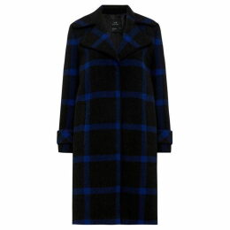 Armani Exchange Long Line Tartan Check Wool Coat