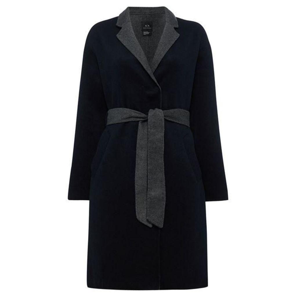 Armani Exchange Long Line Tie Waist Contrast Lining Coat