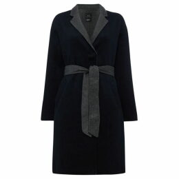 Armani Exchange Long Line Tie Waist Contrast Lining Coat