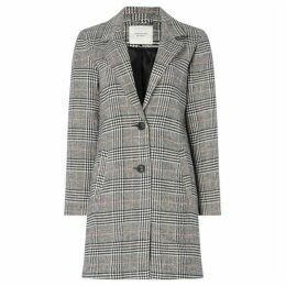 JDY Long Line Button Up Checked Coat