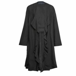 French Connection Dae Drape Ruffle Front Coat