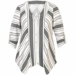 Chesca Linen Mix Diagonal Stripe Jacket With Tab Detail