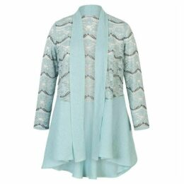 Chesca Linen Jacket With Scallop Lace Trim