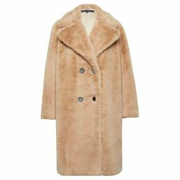 French Connection Annie Faux Shearling Double Breasted Coat