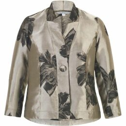 Chesca 2-Tone Floral Jacquard Tafetta Jacket
