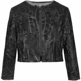 Smart and Joy Lace And Velvet Cropped Jacket