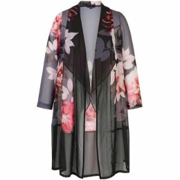 Chesca Floral Placement Chiffon Barrel Coat