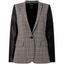 DKNY Collar check jacket with faux leather sleeves