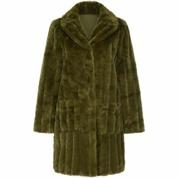 Yumi Patch Pocket Faux Fur Coat