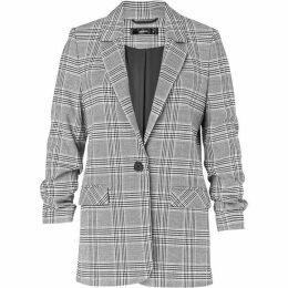 Hallhuber Glen Check Blazer With Gathered Sleeves